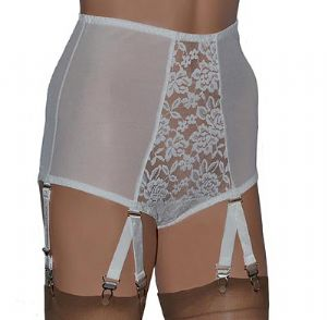 Retro Panty Girdle with 6 Suspender Straps in Ivory or Black